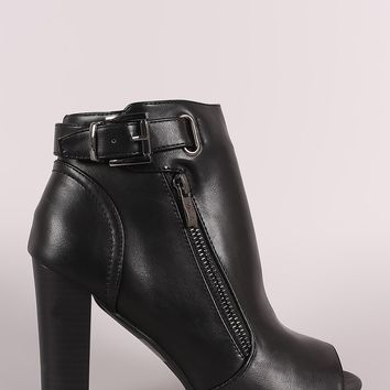 Leather Peep Toe Buckled Zipper Chunky Heeled Ankle Boots
