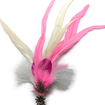 Deluxe German themed Hat Pins with Pinsk And White Feathers