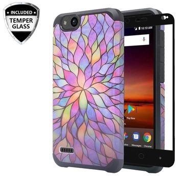 ZTE Tempo X Case, Tempo Go, Blade Vantage, Avid 4, ZFive C, ZFive G, N9137, Z557BL, Z558VL,[Include Temper Glass Screen Protector] Slim Hybrid Dual Layer [Shock Resistant] Case for Tempo X - Rainbow Flower
