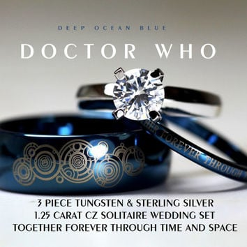 BLUE Doctor Who His 8mm Tungsten and Hers 4mm 925 Sterling Silver 1.25 Carat Solitaire CZ Wedding Ring Set,