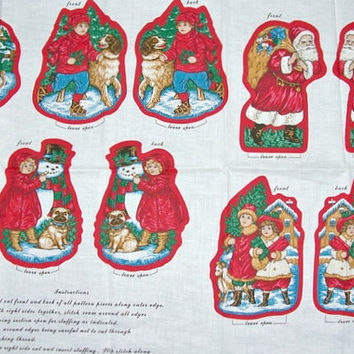 CHRISTMAS ORNAMENTS Children Of Christmas Past Christmas Fabric Panel Christmas Ornaments Crafts Sewing Home Decor Craft Supply