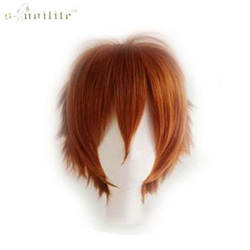 SNOILITE Synthetic Straight Full Head Short Wigs Cosplay Party Hair Halloween Heat Resistant Fiber Natural Color For human Wig