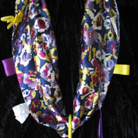 Multi-Colored Patterned Fabric Scarf for Mommy and Teething Baby.  Jeweled with Ribbon, Buttons, Rings, Wood Balls