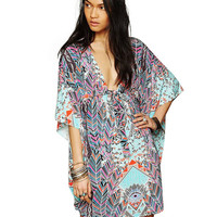 Printed V-neck Half Sleeve Shift Mini Dress