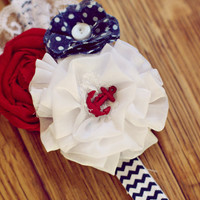 Navy blue, red and white - anchor headband