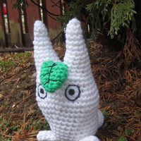 Studio Ghibli Inspired: Chibi (white) Totoro Amigurumi with Leaf! (Crochet Plushie/Plush Toy) from My neighbor Totoro - MADE TO ORDER