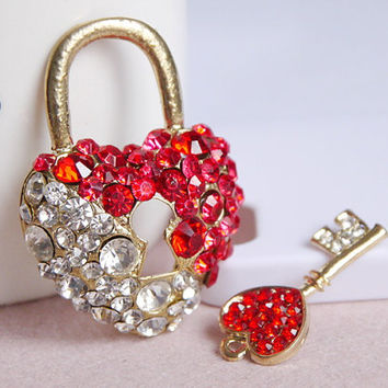 1set Bling crystal Lock and key Alloy jewelry accessories materials for diy phone case deco