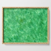 Bright green swirls doodles Serving Tray by savousepate