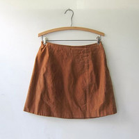 20% OFF SALE. 90s Suede Mini Skirt. Sandy Brown Leather Skirt. High Waist Skirt