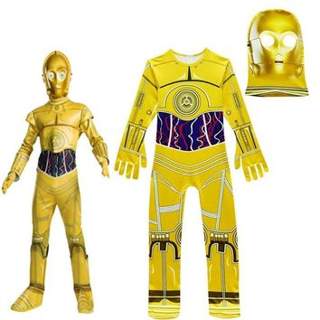Star Wars Force Episode 1 2 3 4 5 Kids Cosplay Costumes Boys Jumpsuits  Movie Robot Cosplay Children Festive Party Supplies Kids Robot C3-PO Streetwear AT_72_6