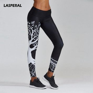 LASPERAL Women Running Pant 3D Print Tree High Waist Skinny Sports Legging Gym Fitness Stretched Long Athleisure Pant Plus Size