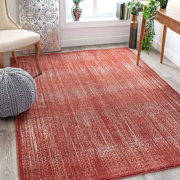 2802 Red Vintage Design Distressed Area Rugs