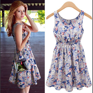 Floral Print Sleeveless A-Line Dress