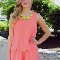 Catch A Wave Romper - Neon Coral
