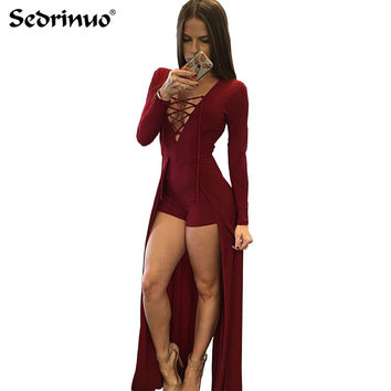 Sexy Women Jumpsuit V Neck Bandage Bodysuit cotton Fashion Women Jumpsuit Design Hollow Out V-Neck Maxi Overlay Romper black/red
