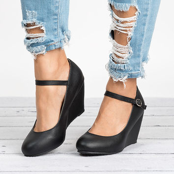 Mary Jane Wedge Pumps - Black Faux Leather