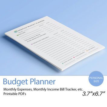 BUDGET Planner Personal Filofax Inserts (3.7 x 6.7 inches). Financial Binder inserts. Bills, Savings and Expenses. Filofax printable 4 docs