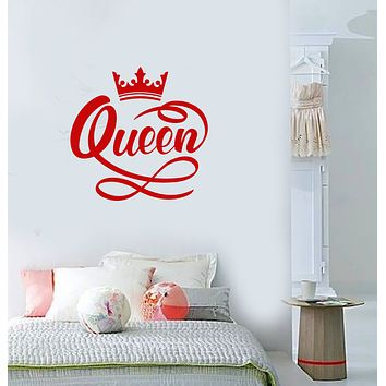 Vinyl Wall Decal Crown Queen Word Quote Girls Room Decoration Stickers (3786ig)