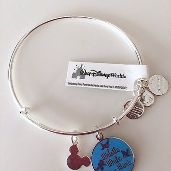 Disney Parks Alex and Ani Whistle While You Work Silver Charm Bangle Bracelet