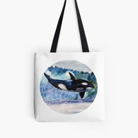 'Whale, Wild Orca ' Tote Bag by Manitarka