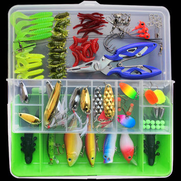 Almighty Fishing Lure Kit Complete Set With Hard Lures Soft Bait Accessories Case Minnow Crank Pencil Popper Pliers 101 Pieces