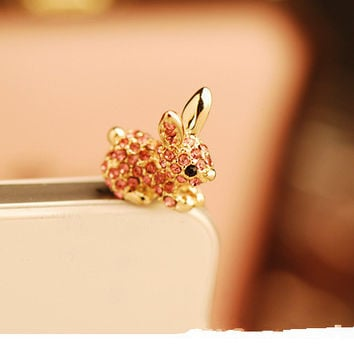 Cute Rabbit With Diamond Dustproof Plug Caps Cell Phone Accessories3.5mm Earphone Dust Plug Dachshund For Iphone6 6P For Samsung