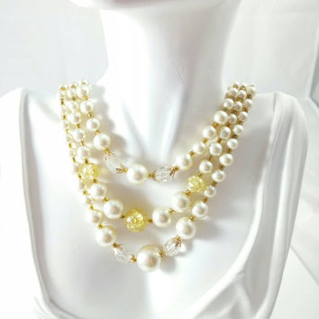 Vintage 50s 60s Triple Strand Necklace - Pearl, Lucite, Faceted Beaded Necklace Signed Japan