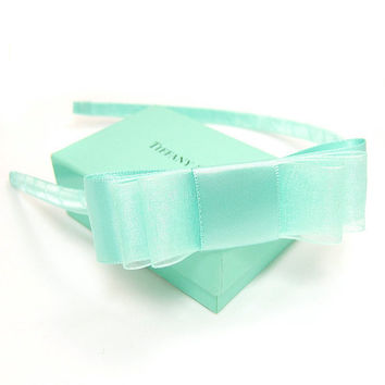 Tiffany Blue Headband, TIffany Blue Hair Bow, Satin Bow Headband, Robin's Egg Blue, Girls, Women, Weddings, Flower Girl, Bridesmaids