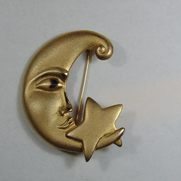 Frosted Gold Moon with Star Brooch Vintage Costume Jewelry