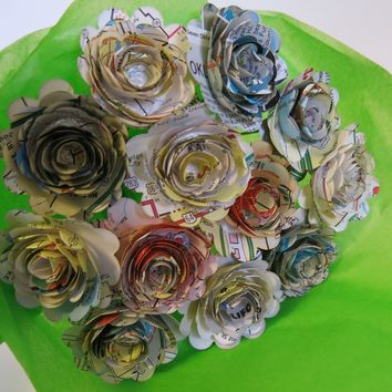 """Scalloped Old Gas Station Road Map Roses on Stems, 1.5"""" Rosettes, Paper Flowers Bouquet, One Dozen, Recycled Art, Travel Theme Bridal Shower Decoration, Birthday Party Decor"""