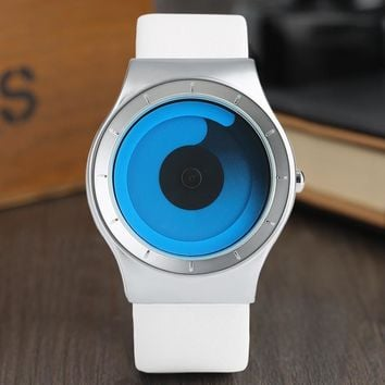 Creative Men's Watches Turntable Blue Swirl Pointer Fashion Minimalist Style Unisex Couple Wrist