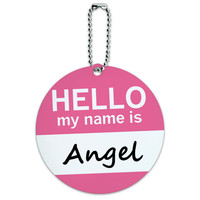 Angel Hello My Name Is Round ID Card Luggage Tag