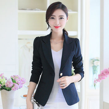 2016 Fashion Candy Color Jacket Women Suit Foldable Lapel Coat Slim Blazer Vogue Single Button Korean Blazers Outerwear Jackets
