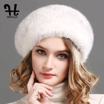 DCCKGQ8 FURTALK 100% natural mink fur hat women winter fur hats mink fur beret for women