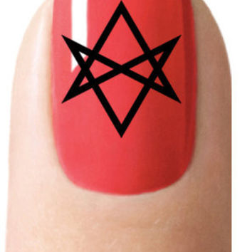Nail Art DECALS 36 UNICURSAL HEXAGRAM Black Waterslide Wiccan Gothic - Aleister Crowley