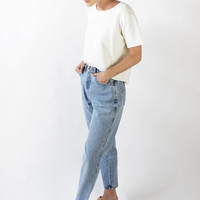 Vintage 90s Light Wash High Rise Boyfriend Jeans | 28