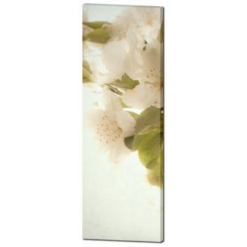 White Flowers Canvas - Cottage Chic Canvas - Large Canvas - Tall Canvas - White and Green - Large Canvas - Floral Wall Art - 20 x 60 Canvas
