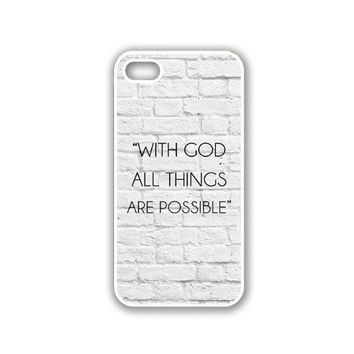 Quote - With God All Things Are Possible White Bricks iPhone 5 White Case - For iPhone 5/5G White - Designer TPU Case Verizon AT&T Sprint