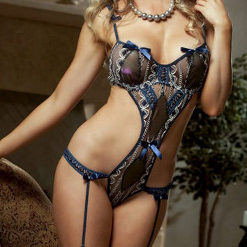 Dark Blue Lace with Bow Tie Teddy Lingerie