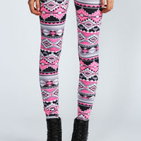 Ellise Pink Aztec Leggings