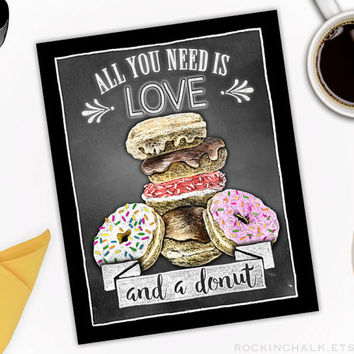 Chalkboard Style Donut Bar Food Station Sign | Weddings, Functions, Party Decorations | All You Need is Love and a Donut