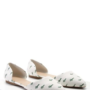 Pointed Cactus Print Flats