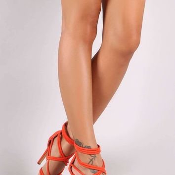 Suede Tubular Strappy Open Toe Stiletto Heel