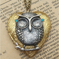 Steampunk Owl on branch Locket Necklace Vintage by sallydesign