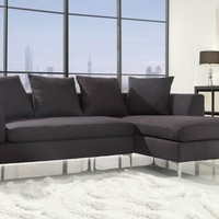 A.M.B. Furniture & Design :: Living room furniture :: Sofas and Sets :: Sectional Sofas :: 2 pc Zola Collection modern styling charcoal fabric upholstered sectional sofa set with chaise and chrome legs