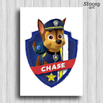 paw patrol Chase print cartoon dog poster