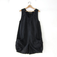 Vintage cotton romper. modern faded black romper. Loose fit romper one piece. Sleeveless jumpsuit shorts.
