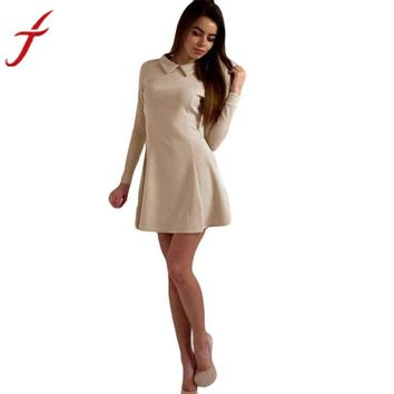 Fashion High Quality Women Dress Long Sleeve Elegant Ladies Irregular Puff Dress Vestidos Clothing