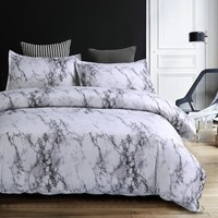 Wongs bedding Modern Marble Printed Bedding Set Grey Duvet Cover Set Bed Quilt Cover Pillowcase 3pcs