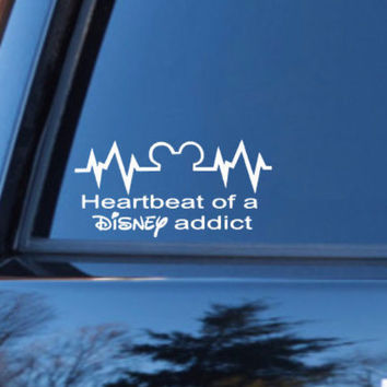Heartbeat of a disney addict disney stickers disney decal disney vacation love